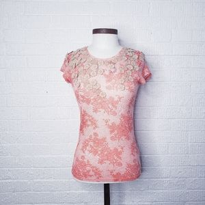 Anthro Deletta lace print tee with lace tr…